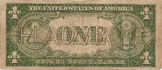 Mike Granat's short snorter (back): U. S. One Dollar Silver Certificate, Series 1935A, HAWAII Overprint, Serial #Z99257836B