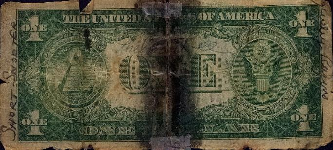 Bill Crump short snorter - US One Dollar Silver Certificate back