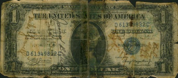 Bill Crump short snorter - US One Dollar Silver Certificate front