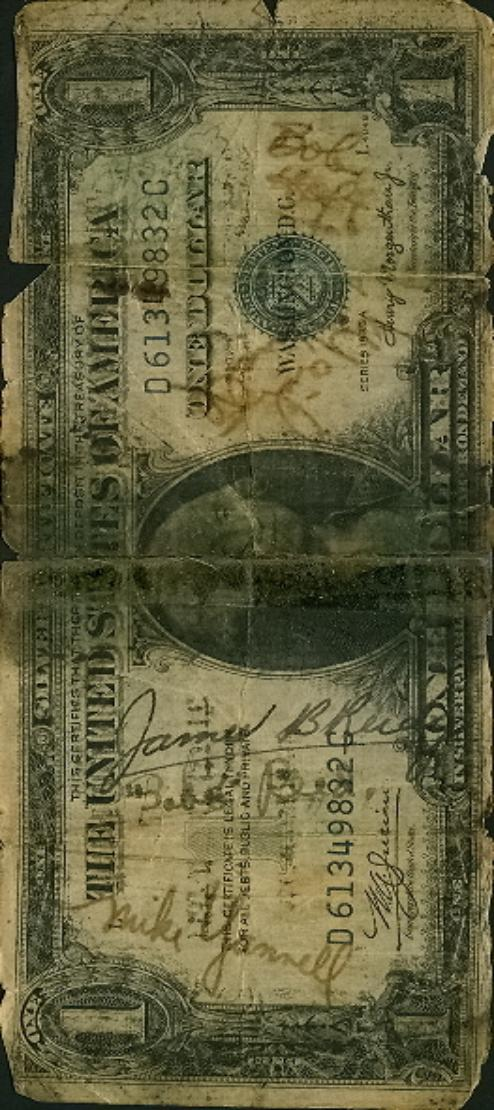 Bill Crump short snorter - US One Dollar Silver Certificate back vert