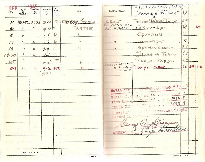 George Grimm's Flight Logbook for the month of September 1945 showing the Nimitz party returning from Tokyo Bay.