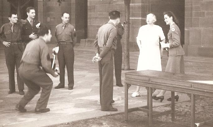 Lady Wavell, wife of the Viceroy, chatting with GIs and a hostess of the Red Cross club who had helped arrange a tour of the Viceroy's Palace in New Delhi.