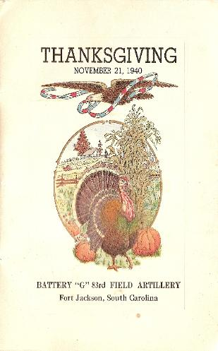 Thanksgiving Program - November 21, 1940, Battery G, 83rd Field Artlillery, Fort Jackson, South Carolina