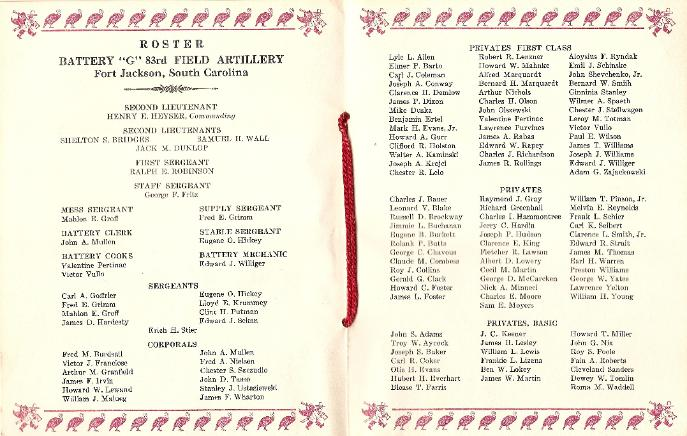 Thanksgiving 1940 Roster Battery G 83rd Field Artillery, Fort Jackson, South Carolina