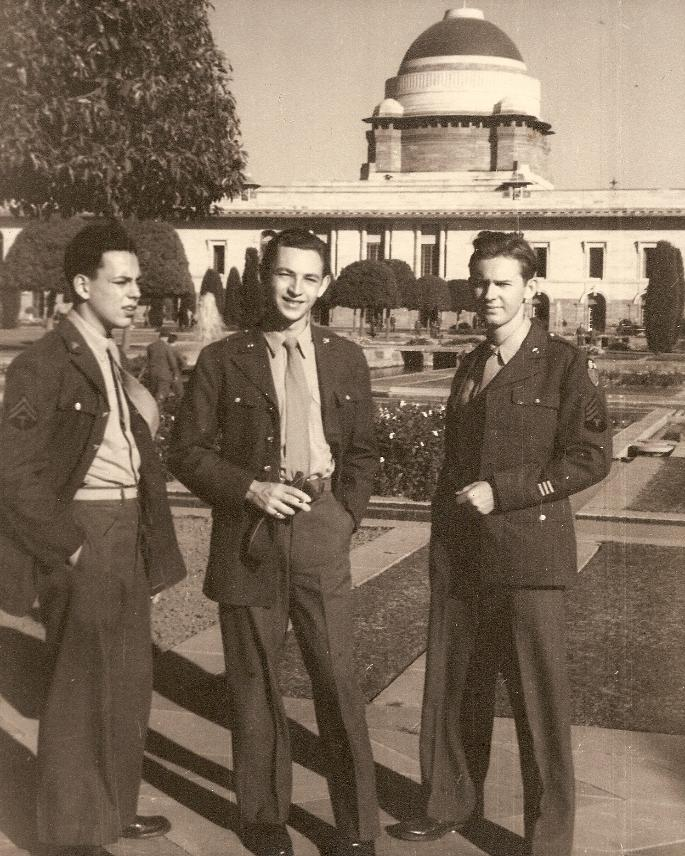 (Standing from left) Harvey Biskin, Irvin Miner, and Marshall Windmiller in the garden of the Viceroy's Palace, New Delhi.