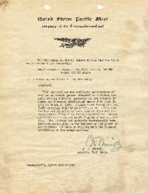 Commendation Letter to James Haislip from Admiral Chester W. Nimitz