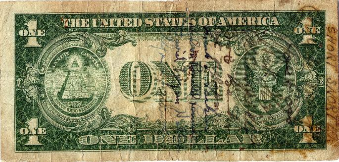 U.S. One Dollar Silver Certificate - Series 1935A - Serial # A12287208C back