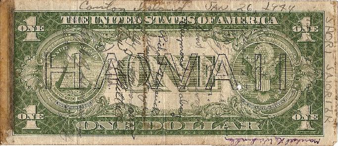 Marshall L. Windmiller Short Snorter Note #1: U.S. 1 Dollar HAWAII Silver Cert. - Series 1935A - Serial # C01981467C - back