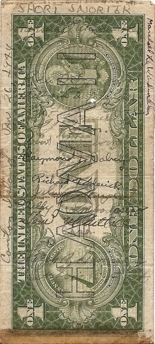 Marshall L. Windmiller Short Snorter Note #1: U.S. 1 Dollar HAWAII Silver Cert. - Series 1935A - Serial # C01981467C - back vertical with signatures.
