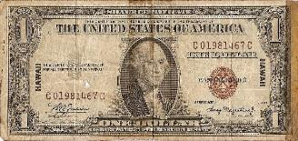 Marshall L. Windmiller Short Snorter Note #1: U.S. 1 Dollar HAWAII Silver Cert. - Series 1935A - Serial # C01981467C - front