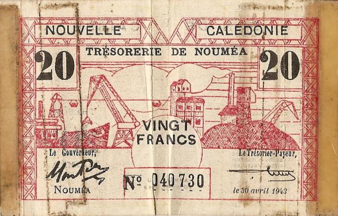 Marshall L. Windmiller Short Snorter Note #2: New Caledonia 20 Francs - Series 30 April 1942 - Serial # 040730 - front