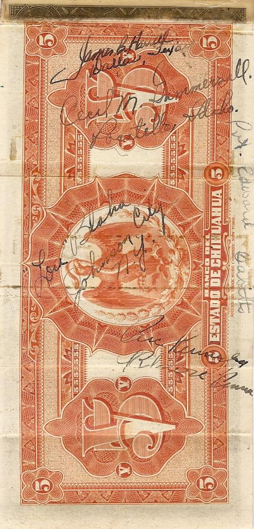 Marshall L. Windmiller Short Snorter Note #4: Mexico - State of Chihuahua - Series A - 12 Dec. 1903 - Serial # 161057 - back vertical with signatures