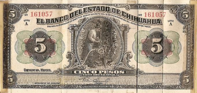 Marshall L. Windmiller Short Snorter Note #4: Mexico - State of Chihuahua - Series A - 12 Dec. 1903 - Serial # 161057 - front