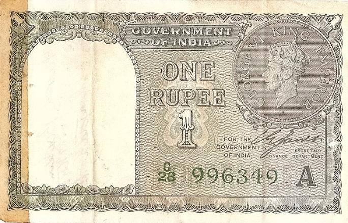 Marshall L. Windmiller Short Snorter Note #7: India 1 Rupee - Serial # C/28 996349 A - front