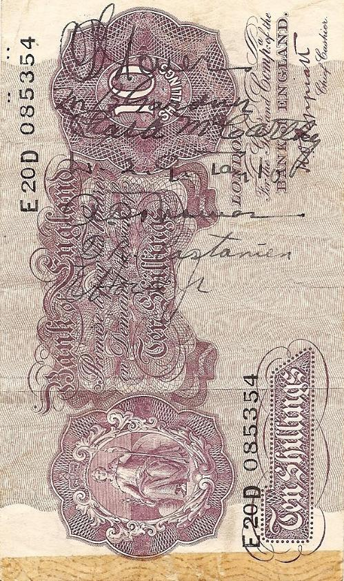 George J. Grimm Short Snorter Note #10: England 10 Shillings - Serial # E20D 085354 front vertical.
