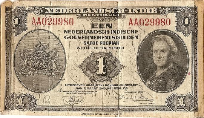 George J. Grimm Short Snorter Note #3: Dutch East Indies 1 Gulden - Series 1943 - Serial # AA029980 front