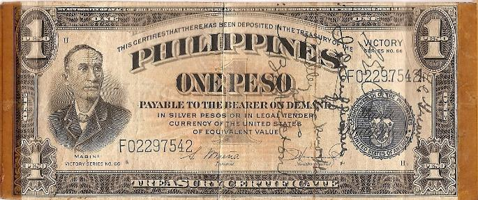George J. Grimm Short Snorter Note #6: Philippines 1 Peso Silver Certificate - Series No. 66 - Serial # F02297542 front