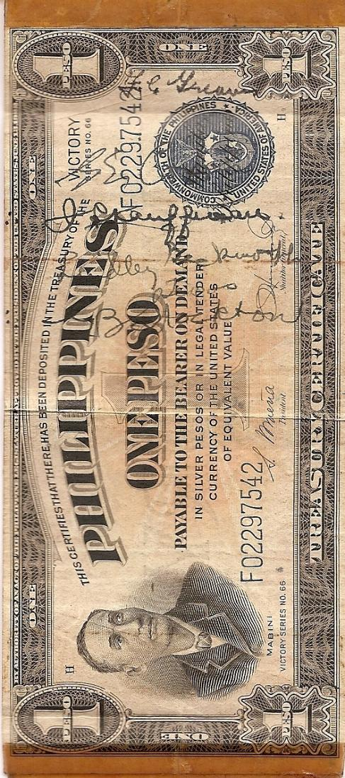 George J. Grimm Short Snorter Note #6: Philippines 1 Peso Silver Certificate - Series No. 66 - Serial # F02297542 front vertical