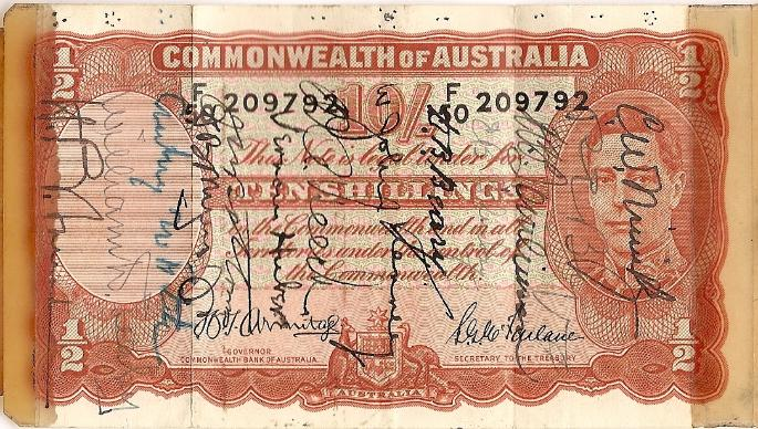 George J. Grimm Short Snorter Note #7: Australia 10 Shillings - Serial # F/50 209792 front