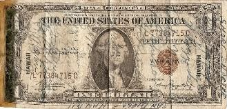 Robert James Marguerite US 1 Dollar Short Snorter front