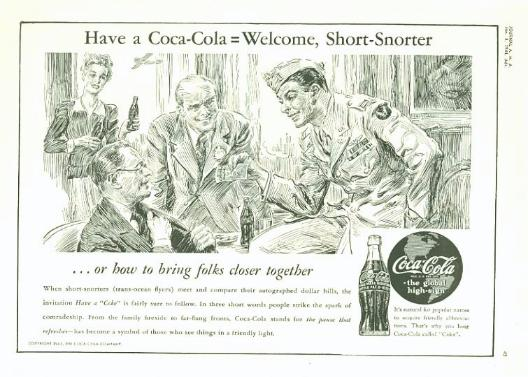 1944 Coca-Cola Advertisement with Short Snorter