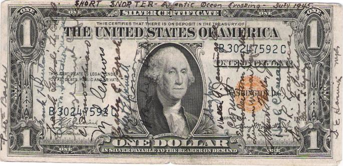 W. Wallace Greene Short Snorter US One Dollar Silver Certificate NORTH AFRICA Emergency Issue - front