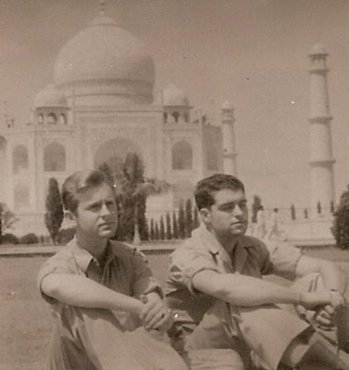 (Seated from left) Marshall Windmiller and Edward Dalton relaxing at the Taj Mahal.